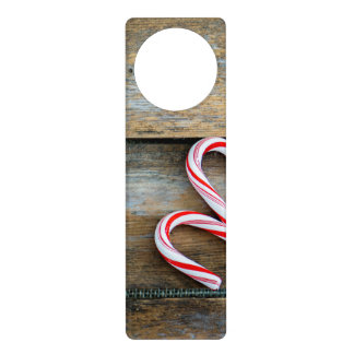 Rustic Wood with Christmas Candy Canes Door Hanger
