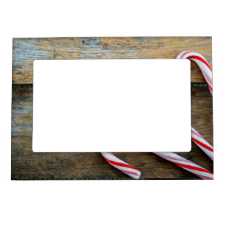 Rustic Wood with Christmas Candy Canes Magnetic Picture Frame