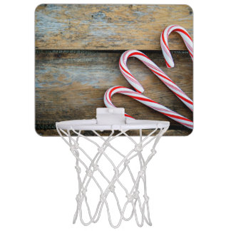 Rustic Wood with Christmas Candy Canes Mini Basketball Hoop