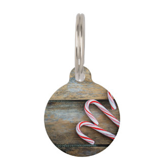 Rustic Wood with Christmas Candy Canes Pet Name Tag