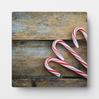 Rustic Wood with Christmas Candy Canes Plaque
