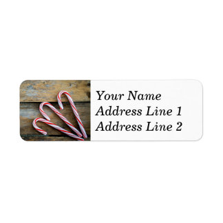 Rustic Wood with Christmas Candy Canes Return Address Label