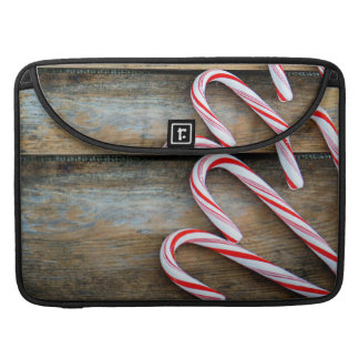 Rustic Wood with Christmas Candy Canes Sleeve For MacBook Pro