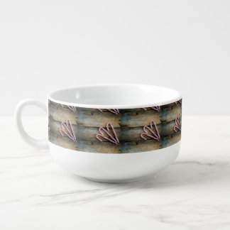Rustic Wood with Christmas Candy Canes Soup Mug