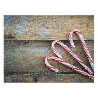 Rustic Wood with Christmas Candy Canes Tablecloth