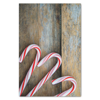 Rustic Wood with Christmas Candy Canes Tissue Paper