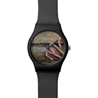 Rustic Wood with Christmas Candy Canes Watch