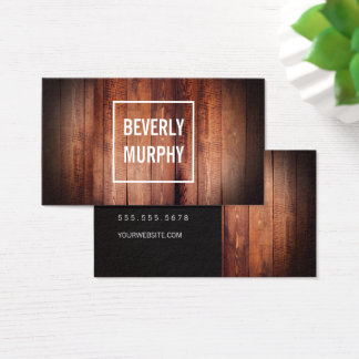 Rustic Wood with Embellishment and Vignette Business Card