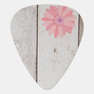 Rustic Wood with Pink Flowers Guitar Pick