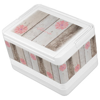 Rustic Wood With Pink Flowers Personalized Cooler