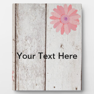 Rustic Wood with Pink Flowers Plaque