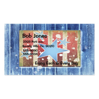 Rustic Wood With Stars, Stripes, Red White Blue Business Card