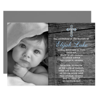 Rustic Wood with Vintage Cross Photo Baptism Card