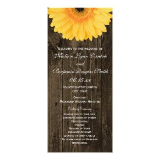 Rustic Wood Yellow Gerber Daisy Wedding Programs Customized Rack Card