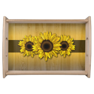 Rustic wood yellow sunflower serving tray