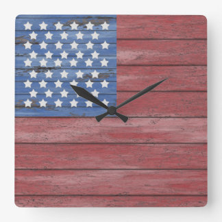 Rustic Wooden Barn Wall American Flag Patriotic Square Wall Clock