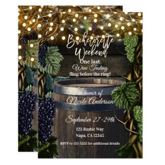 Rustic Wooden Barrel Grape Bachelorette Weekend Card