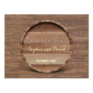 Rustic Wooden Barrel Wedding Carved SAVE THE DATE Postcard