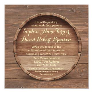 Rustic Wooden Barrel Wedding Invitation