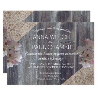 Rustic Wooden Bohemian Floral Pallet Wedding Card