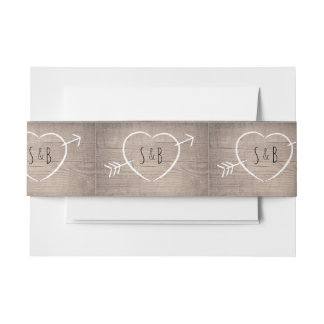 Rustic Wooden Heart Elegant Belly Bands Invitation Belly Band