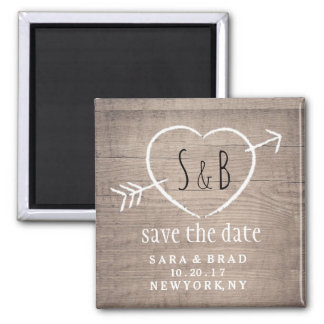Rustic Wooden Heart Elegant SAVE THE DATE Magnet