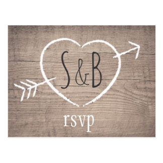 Rustic Wooden Heart Elegant Wedding RSVP Postcard