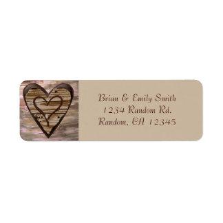 Rustic wooden hearts love return address labels