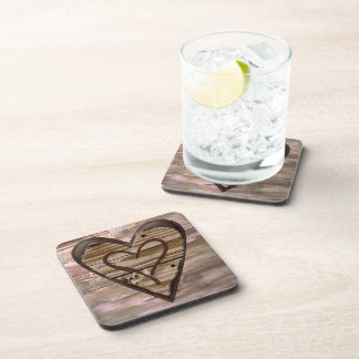 Rustic wooden hearts love sign cork coasters