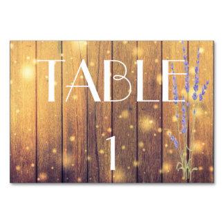 Rustic Wooden Lights Lavender Elegant Table Card