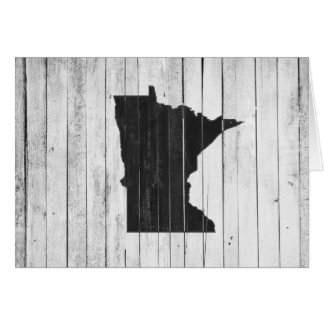 Rustic Wooden Minnesota Black and White Greeting Card