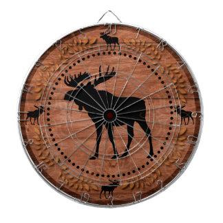 Rustic wooden moose circle dart board
