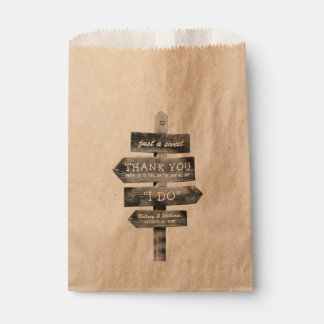 Rustic Wooden Post Country Personalized Wedding Favour Bag