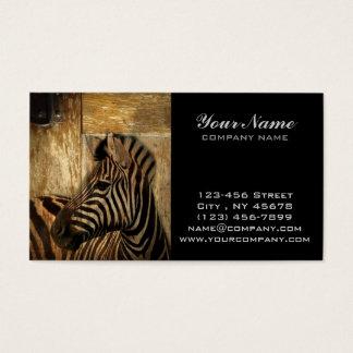 rustic woodgrain Africa safari animal  zebra Business Card