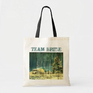 rustic woodgrain western winter country wedding bag