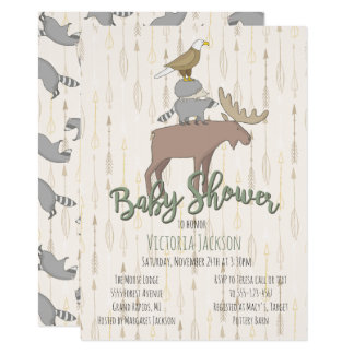 Rustic Woodland Animals Baby Shower Card