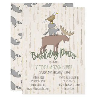 Rustic Woodland Animals Birthday Party Card