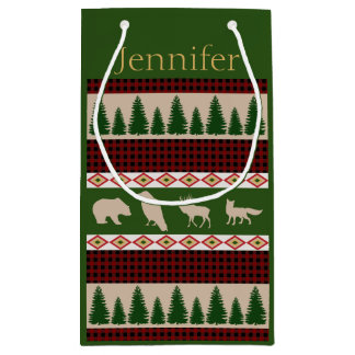 Rustic Woodland Animals Personalized Holiday Small Gift Bag
