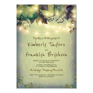 Rustic Woodland Barn String Lights Wedding 13 Cm X 18 Cm Invitation Card