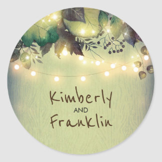 Rustic Woodland Barn String Lights Wedding Round Sticker