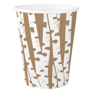 Rustic Woodland Birch and Craft Tan Paper Cup