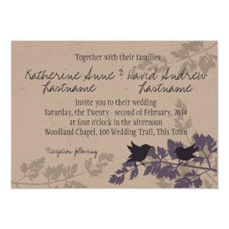 Rustic Woodland Birds Wedding Card