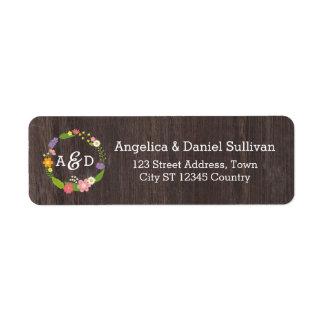 Rustic Woodland Bohemian Floral Wreath Wedding Return Address Label