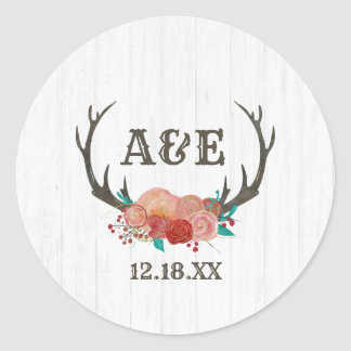 Rustic Woodland Deer Antler Boho Monogram Wedding Classic Round Sticker