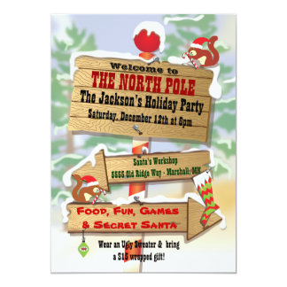 Rustic Woodland North Pole Signs Holiday Party 13 Cm X 18 Cm Invitation Card