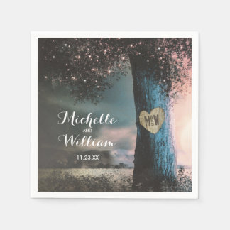 Rustic Woodland Old Tree Lights Wedding Paper Napkin