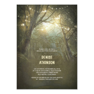 Rustic Woodland String Lights Bridal Shower Card