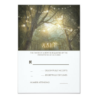 Rustic Woodland String Lights Wedding RSVP Card 9 Cm X 13 Cm Invitation Card