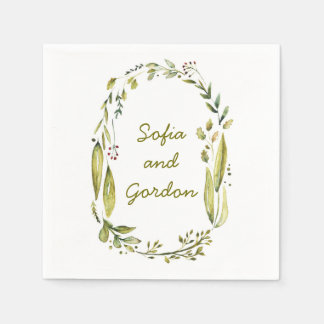 rustic woodland watercolor laurel wedding disposable serviettes