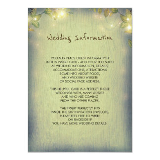 Rustic Woodland Wedding Information Guest Card